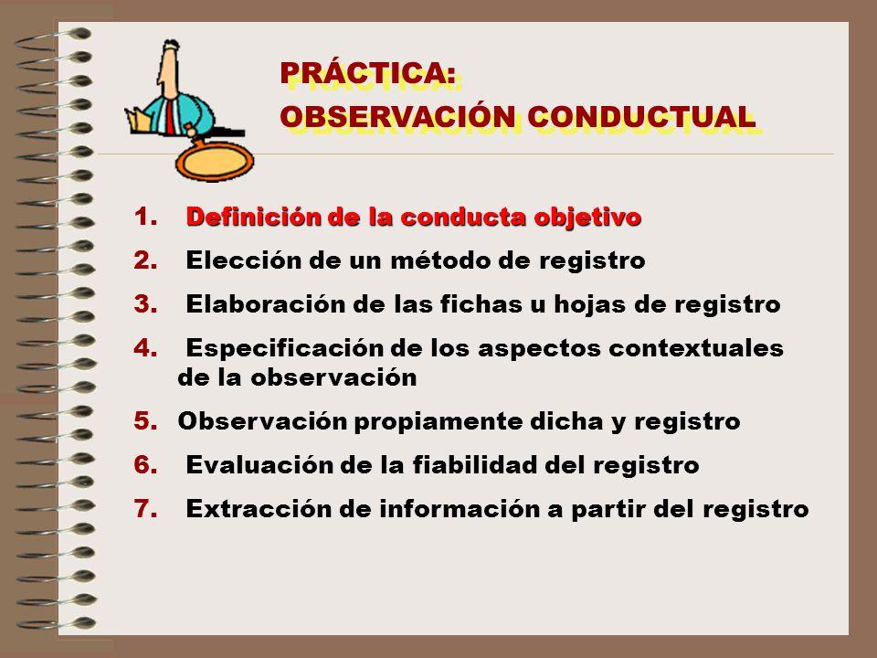 PRÁCTICA: OBSERVACIÓN CONDUCTUAL PRÁCTICA: OBSERVACIÓN CONDUCTUAL Definición de la conducta objetivo 1. Definición de la conducta objetivo 2. Elección