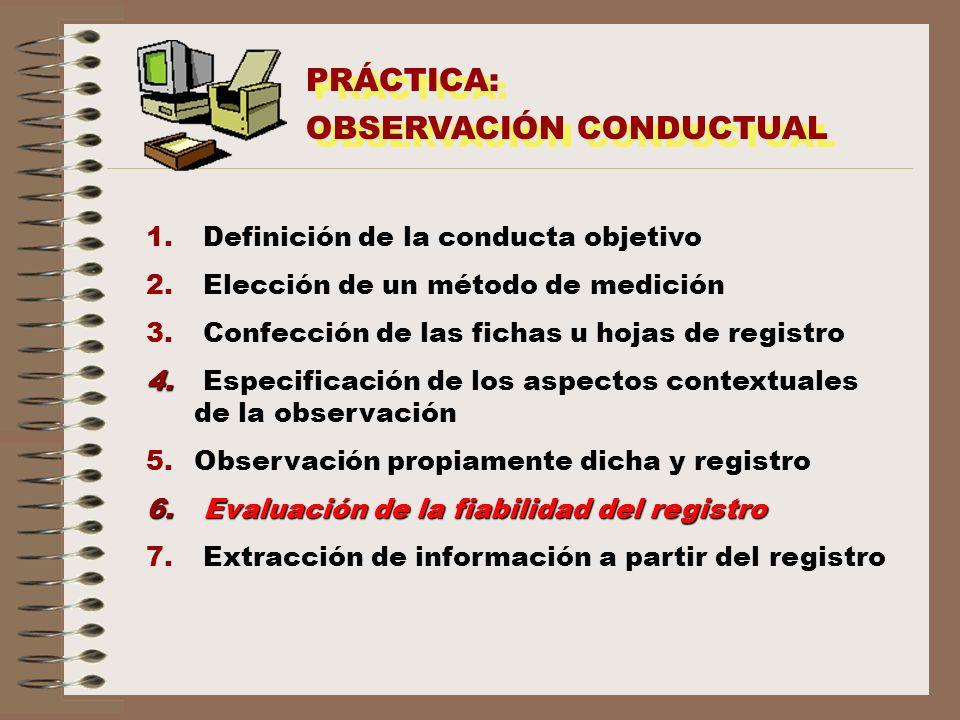 PRÁCTICA: OBSERVACIÓN CONDUCTUAL PRÁCTICA: OBSERVACIÓN CONDUCTUAL 1. Definición de la conducta objetivo 2. Elección de un método de medición 3. Confec