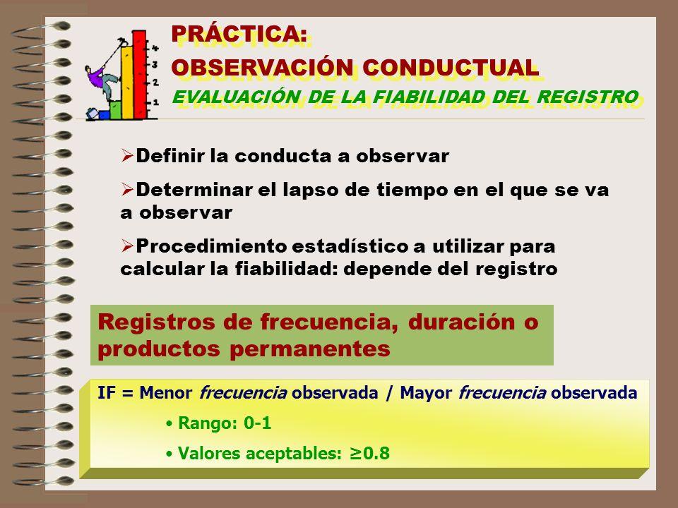 PRÁCTICA: OBSERVACIÓN CONDUCTUAL EVALUACIÓN DE LA FIABILIDAD DEL REGISTRO PRÁCTICA: OBSERVACIÓN CONDUCTUAL EVALUACIÓN DE LA FIABILIDAD DEL REGISTRO De