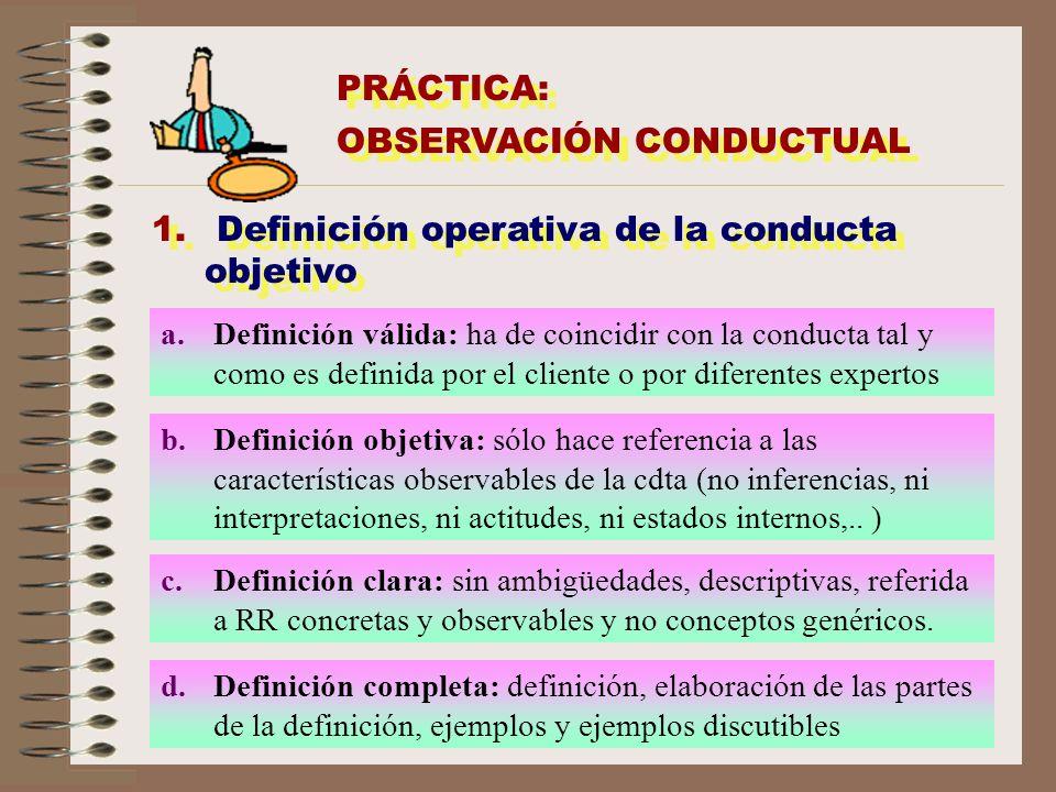 PRÁCTICA: OBSERVACIÓN CONDUCTUAL PRÁCTICA: OBSERVACIÓN CONDUCTUAL 1. Definición operativa de la conducta objetivo a.Definición válida: ha de coincidir