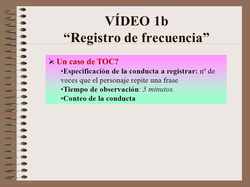 VÍDEO 1b Registro de frecuencia. Un caso de TOC? Especificación de la conducta a registrar: nº de veces que el personaje repite una frase Tiempo de ob