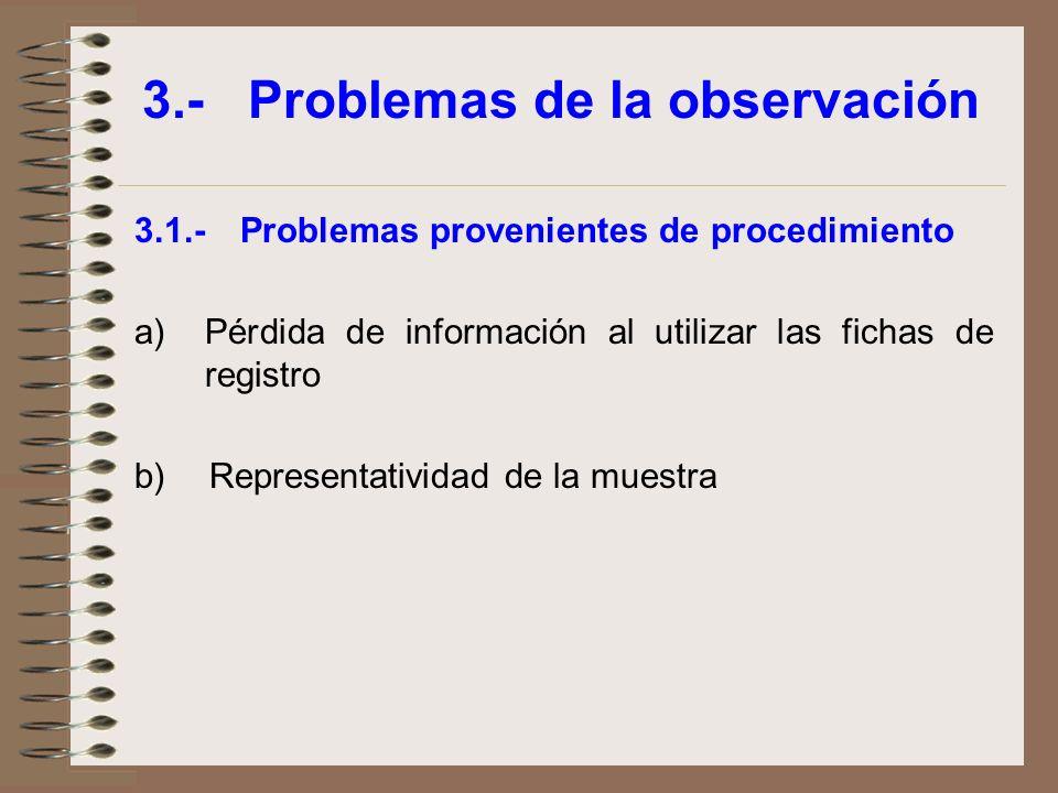 3.-Problemas de la observación 3.1.-Problemas provenientes de procedimiento a)Pérdida de información al utilizar las fichas de registro b) Representat