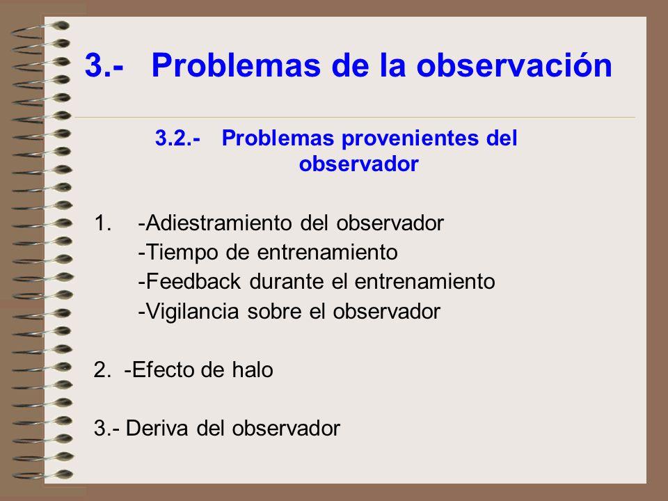 3.-Problemas de la observación 3.2.-Problemas provenientes del observador 1.-Adiestramiento del observador -Tiempo de entrenamiento -Feedback durante