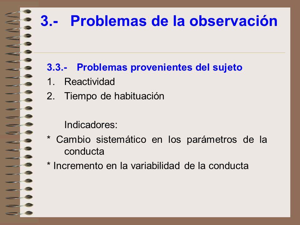 3.-Problemas de la observación 3.3.-Problemas provenientes del sujeto 1.Reactividad 2.Tiempo de habituación Indicadores: * Cambio sistemático en los p
