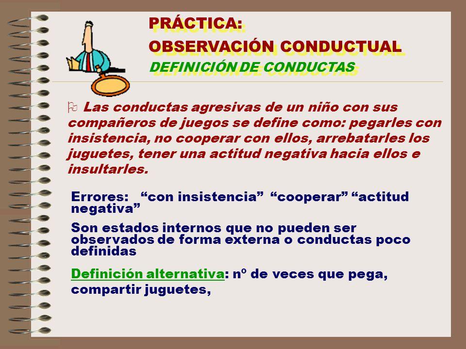 PRÁCTICA: OBSERVACIÓN CONDUCTUAL DEFINICIÓN DE CONDUCTAS PRÁCTICA: OBSERVACIÓN CONDUCTUAL DEFINICIÓN DE CONDUCTAS O Las conductas agresivas de un niño