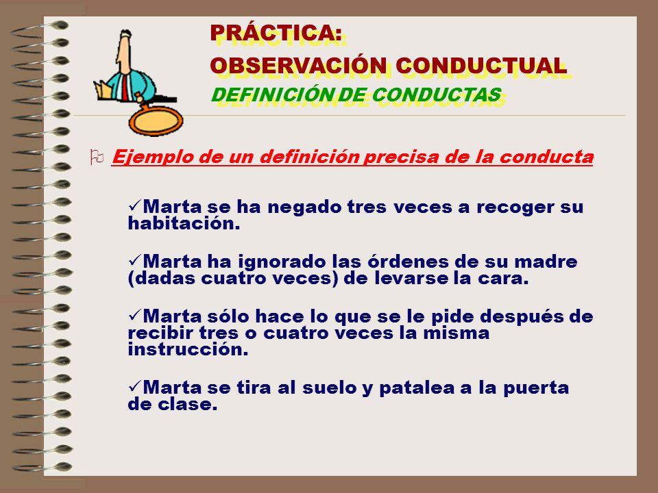 PRÁCTICA: OBSERVACIÓN CONDUCTUAL DEFINICIÓN DE CONDUCTAS PRÁCTICA: OBSERVACIÓN CONDUCTUAL DEFINICIÓN DE CONDUCTAS O Ejemplo de un definición precisa d