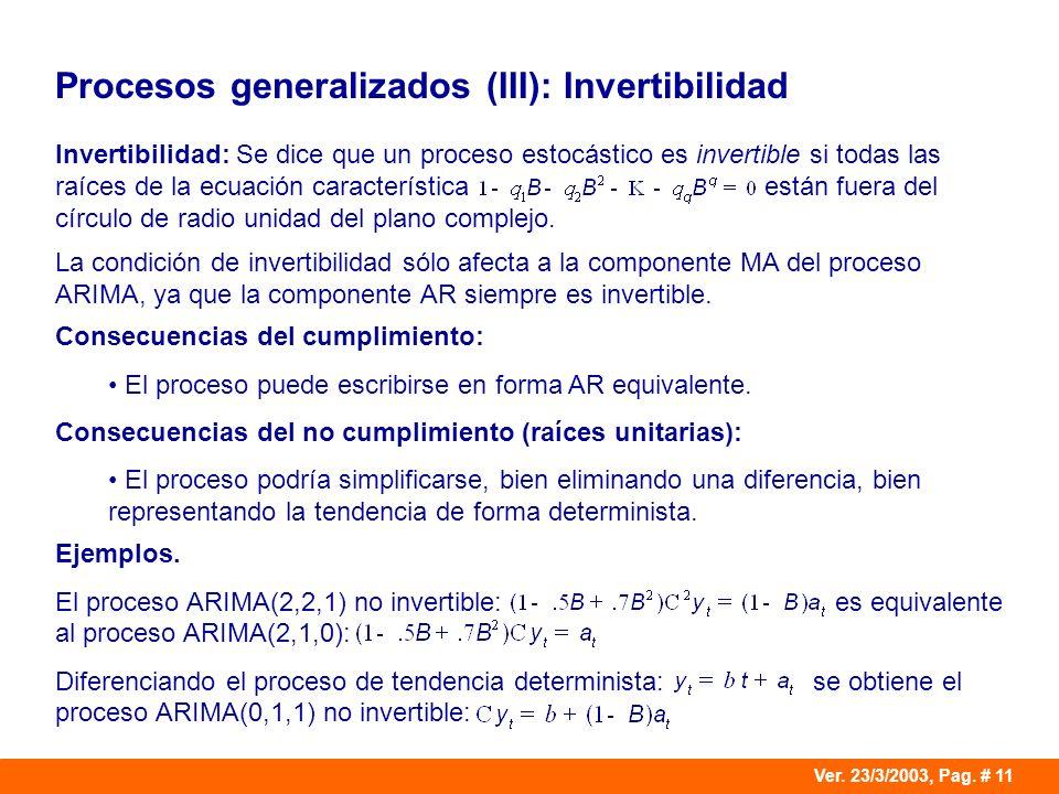 Ver. 23/3/2003, Pag. # 11 Procesos generalizados (III): Invertibilidad Invertibilidad: Se dice que un proceso estocástico es invertible si todas las r