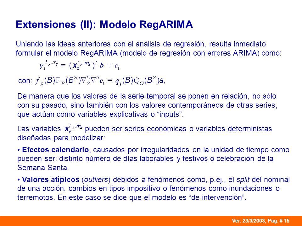 Ver. 23/3/2003, Pag. # 15 Extensiones (II): Modelo RegARIMA Uniendo las ideas anteriores con el análisis de regresión, resulta inmediato formular el m