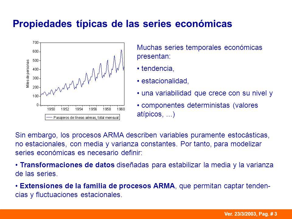 Ver. 23/3/2003, Pag. # 3 Propiedades típicas de las series económicas Muchas series temporales económicas presentan: tendencia, estacionalidad, una va