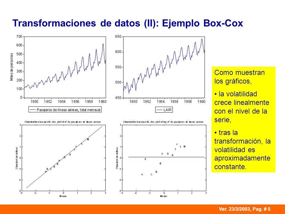 Ver. 23/3/2003, Pag. # 5 Transformaciones de datos (II): Ejemplo Box-Cox Como muestran los gráficos, la volatilidad crece linealmente con el nivel de