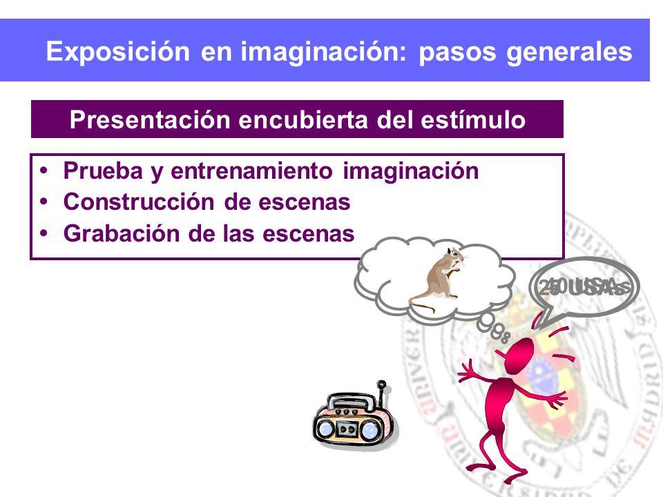 Exposición en imaginación: pasos generales Prueba y entrenamiento imaginación Construcción de escenas Grabación de las escenas Presentación encubierta del estímulo 40 USAs27 USAs5 USAs