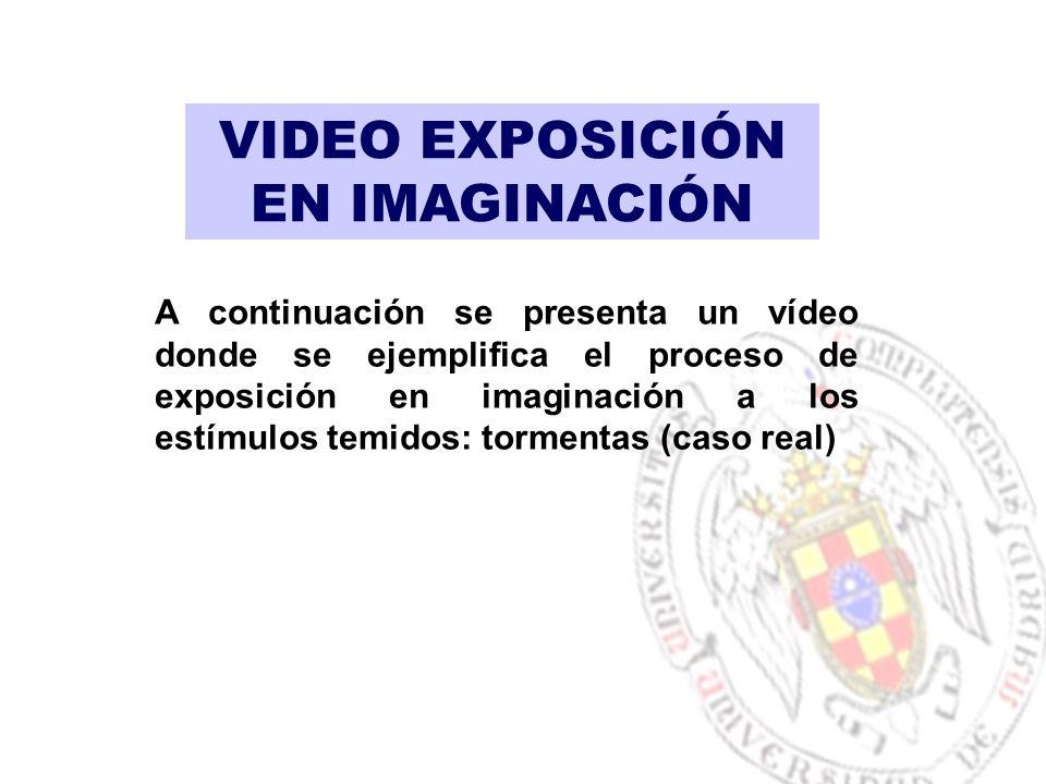 VIDEO EXPOSICIÓN EN IMAGINACIÓN A continuación se presenta un vídeo donde se ejemplifica el proceso de exposición en imaginación a los estímulos temidos: tormentas (caso real)
