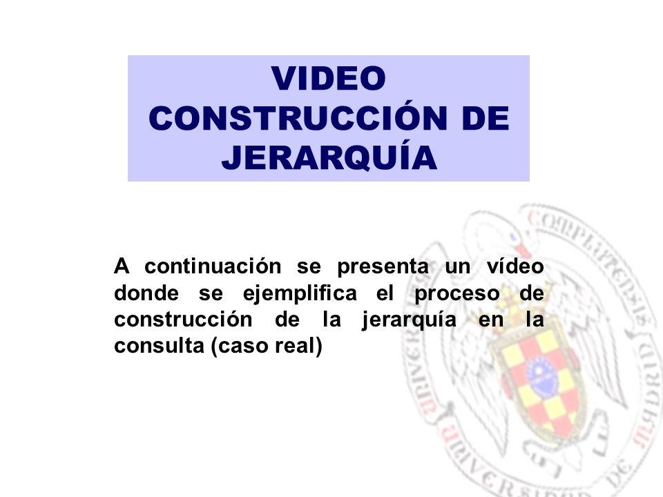 VIDEO CONSTRUCCIÓN DE JERARQUÍA A continuación se presenta un vídeo donde se ejemplifica el proceso de construcción de la jerarquía en la consulta (caso real)