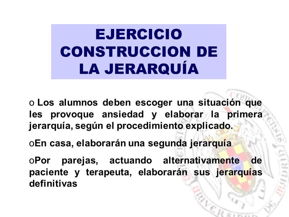 EJERCICIO CONSTRUCCION DE LA JERARQUÍA o Los alumnos deben escoger una situación que les provoque ansiedad y elaborar la primera jerarquía, según el procedimiento explicado.