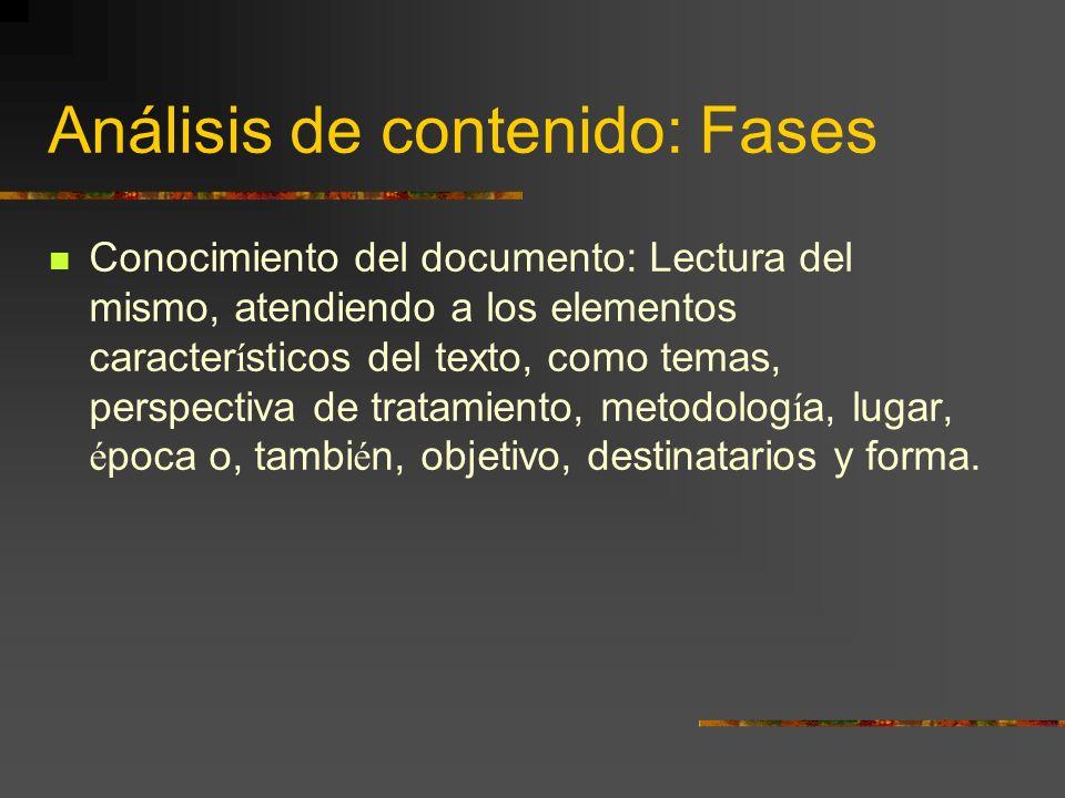 Análisis de contenido: Fases Conocimiento del documento: Lectura del mismo, atendiendo a los elementos caracter í sticos del texto, como temas, perspe