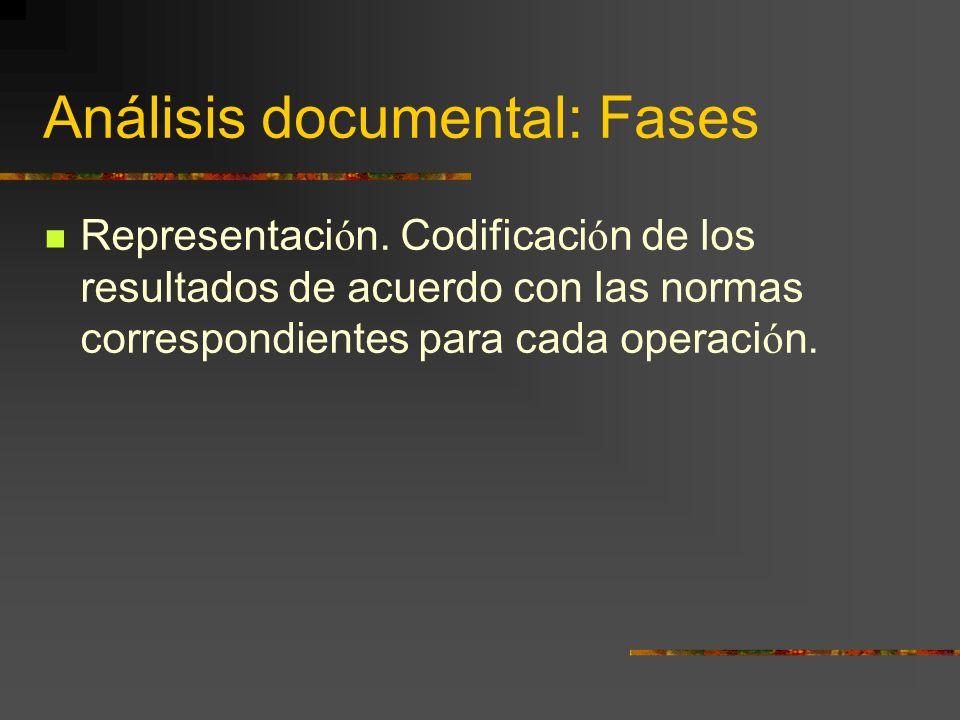 Análisis documental: Fases Representaci ó n. Codificaci ó n de los resultados de acuerdo con las normas correspondientes para cada operaci ó n.