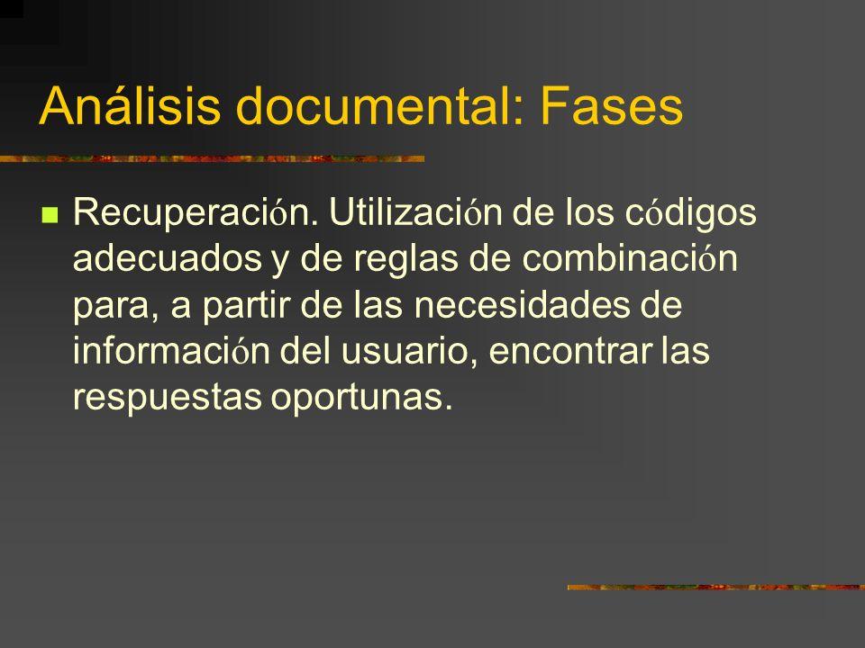 Análisis documental: Fases Recuperaci ó n. Utilizaci ó n de los c ó digos adecuados y de reglas de combinaci ó n para, a partir de las necesidades de