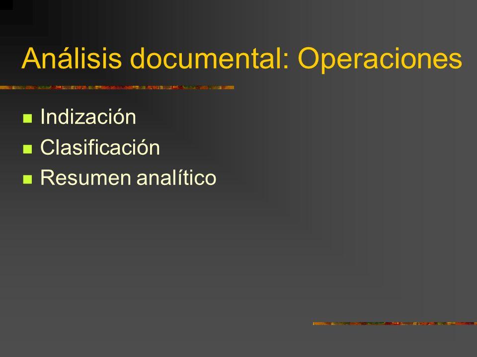 Análisis documental: Operaciones Indización Clasificación Resumen analítico