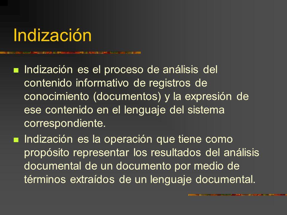 Indización Indización es el proceso de análisis del contenido informativo de registros de conocimiento (documentos) y la expresión de ese contenido en