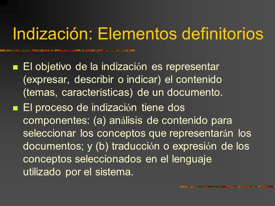 Indización: Elementos definitorios El objetivo de la indizaci ó n es representar (expresar, describir o indicar) el contenido (temas, caracter í stica