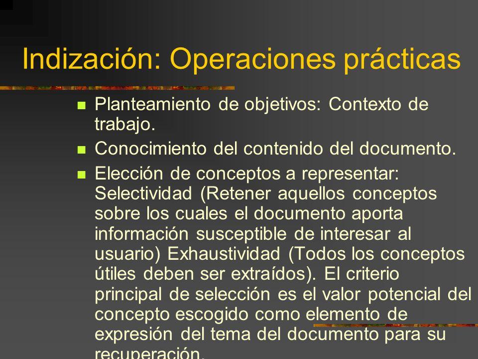 Indización: Operaciones prácticas Planteamiento de objetivos: Contexto de trabajo. Conocimiento del contenido del documento. Elección de conceptos a r