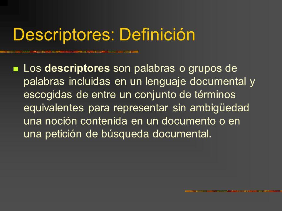 Descriptores: Definición Los descriptores son palabras o grupos de palabras incluidas en un lenguaje documental y escogidas de entre un conjunto de té