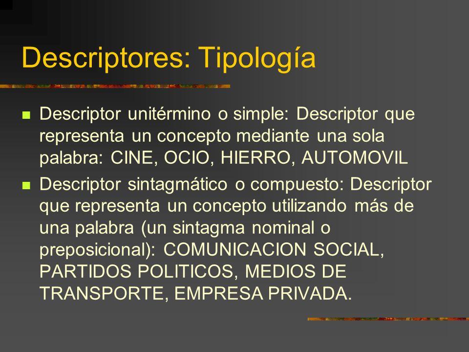 Descriptores: Tipología Descriptor unitérmino o simple: Descriptor que representa un concepto mediante una sola palabra: CINE, OCIO, HIERRO, AUTOMOVIL