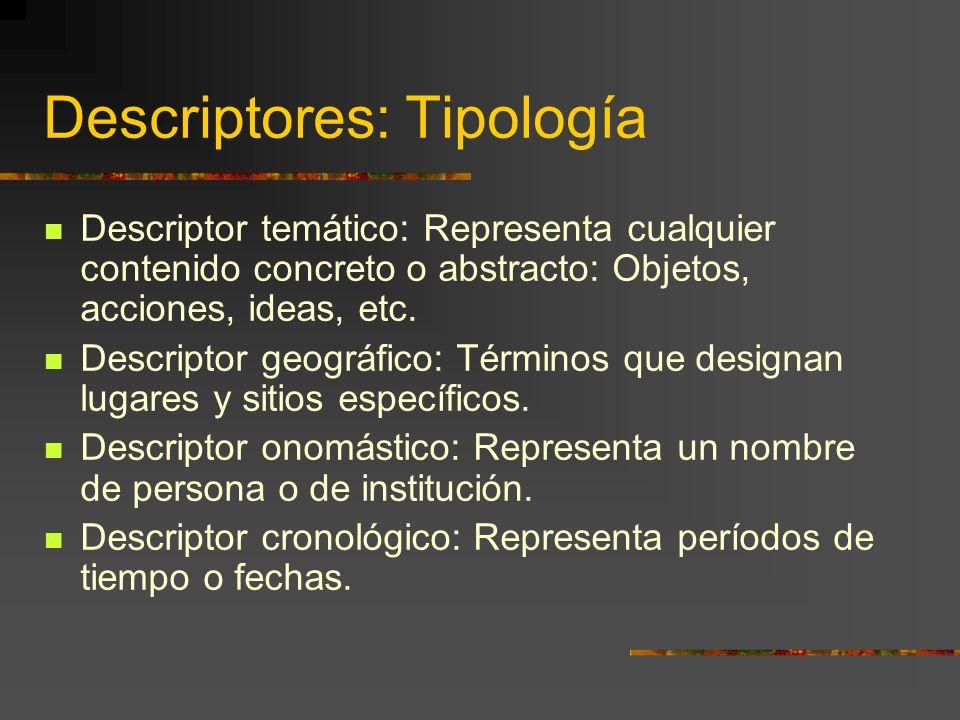 Descriptores: Tipología Descriptor temático: Representa cualquier contenido concreto o abstracto: Objetos, acciones, ideas, etc. Descriptor geográfico