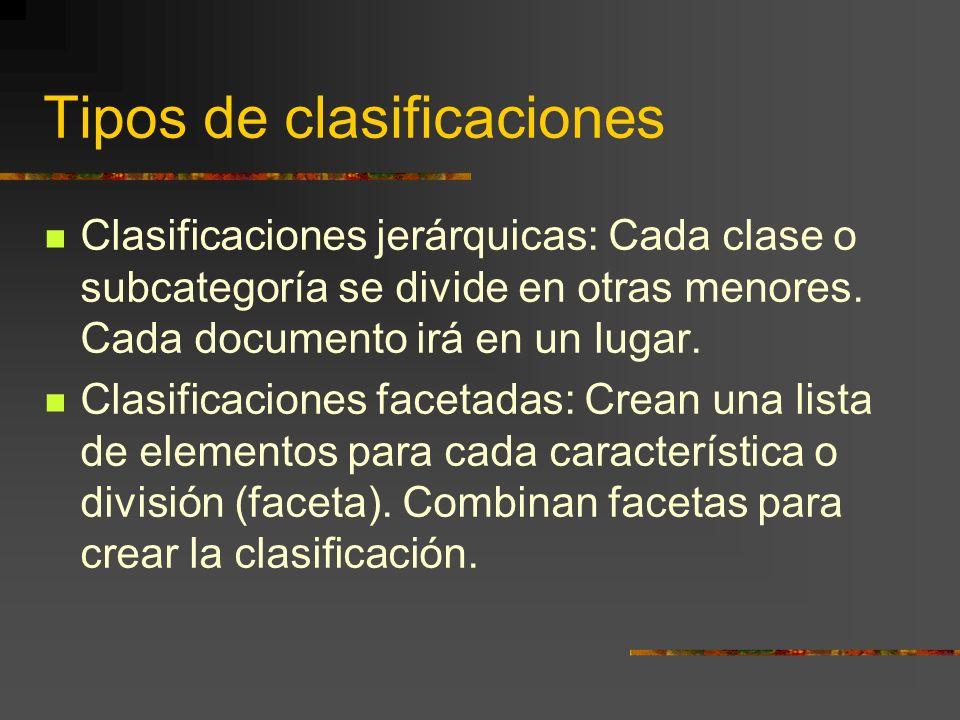 Tipos de clasificaciones Clasificaciones jerárquicas: Cada clase o subcategoría se divide en otras menores. Cada documento irá en un lugar. Clasificac
