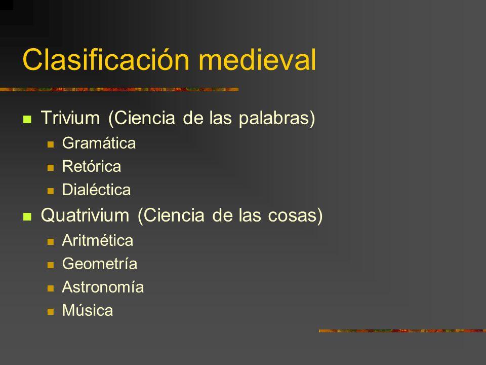 Clasificación medieval Trivium (Ciencia de las palabras) Gramática Retórica Dialéctica Quatrivium (Ciencia de las cosas) Aritmética Geometría Astronom