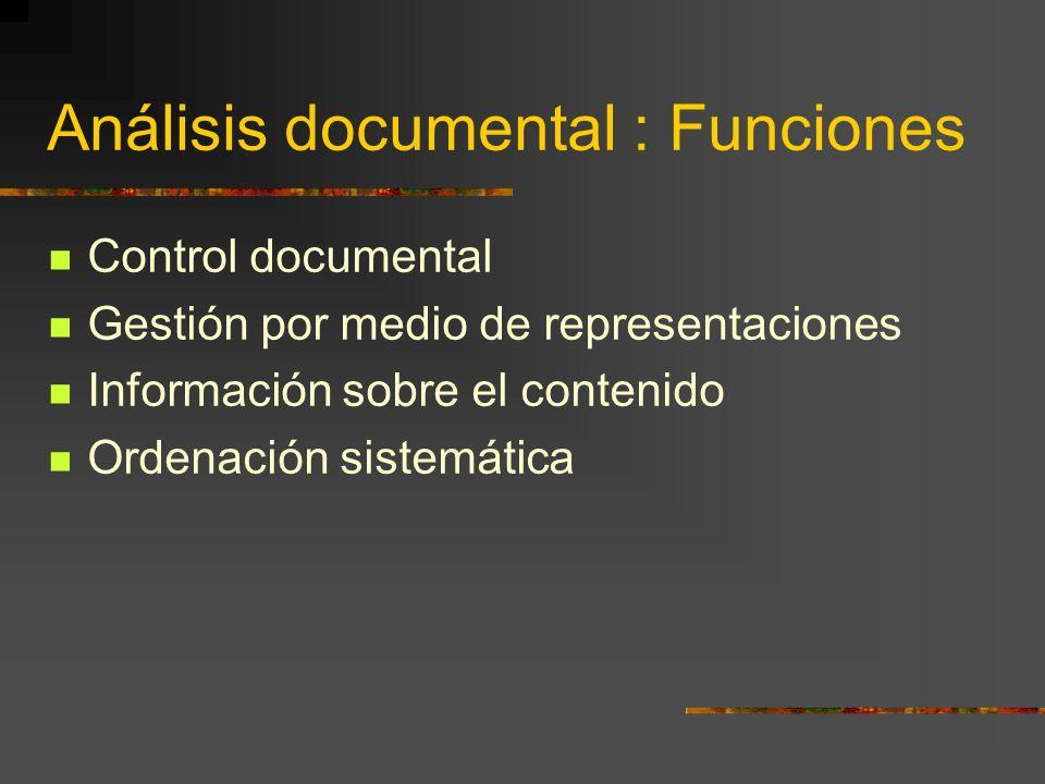 Análisis documental : Funciones Control documental Gestión por medio de representaciones Información sobre el contenido Ordenación sistemática Recuperación pertinente
