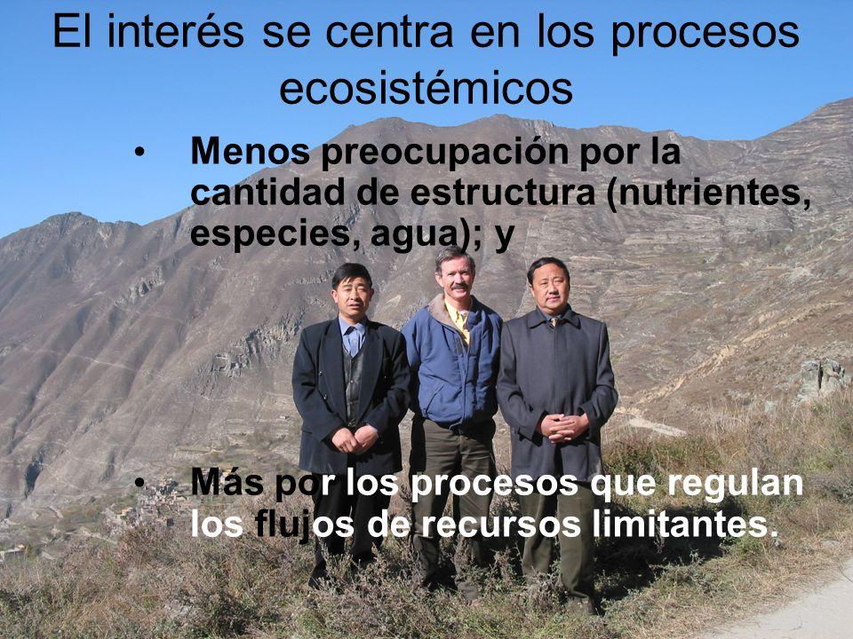 El interés se centra en los procesos ecosistémicos Menos preocupación por la cantidad de estructura (nutrientes, especies, agua); y Más por los proces