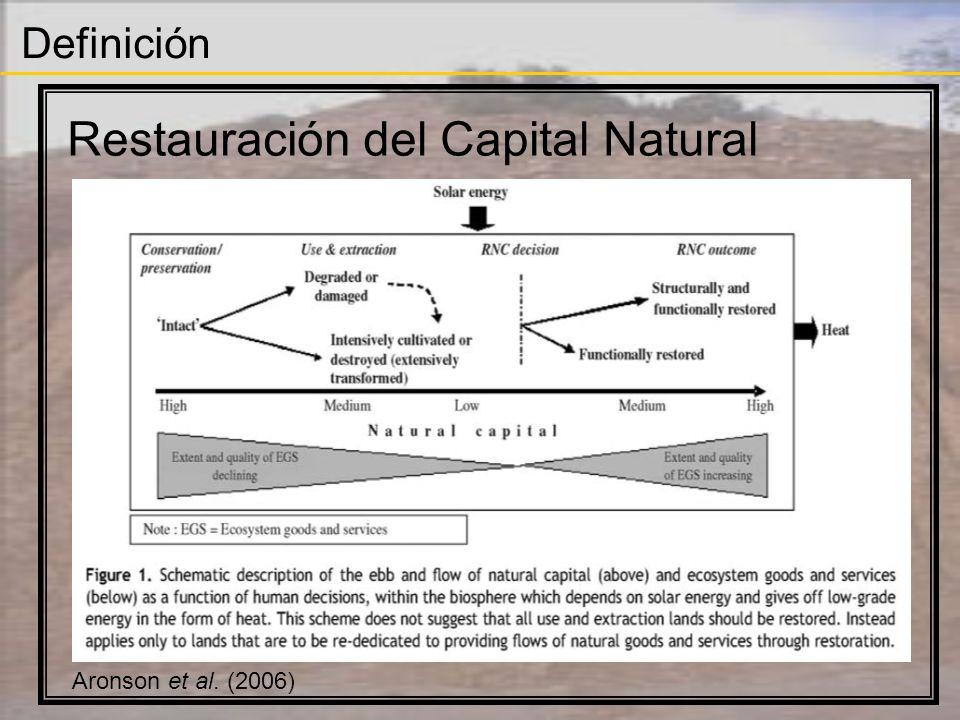 Definición Restauración del Capital Natural Restauración Ecológica Proceso de asistir a la recuperación de los ecosistemas que han sido degradados, dañados, o destruidos (SER 2004)(SER 2004) Restauración Ecológica (práctica) Ecología de la Restauración (teoría)