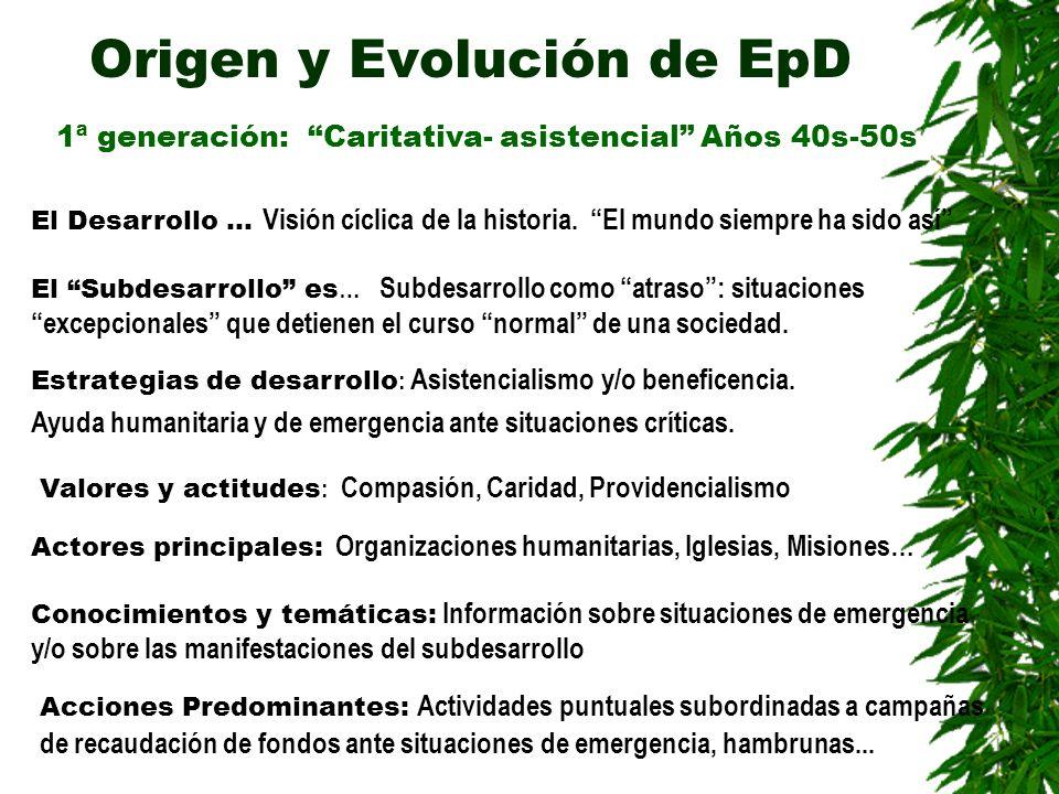 Origen y Evolución de EpD 2ª generación: Desarrollista Años 60s El Desarrollo es… Proceso lineal desde la sociedad tradicional hacia la modernización.