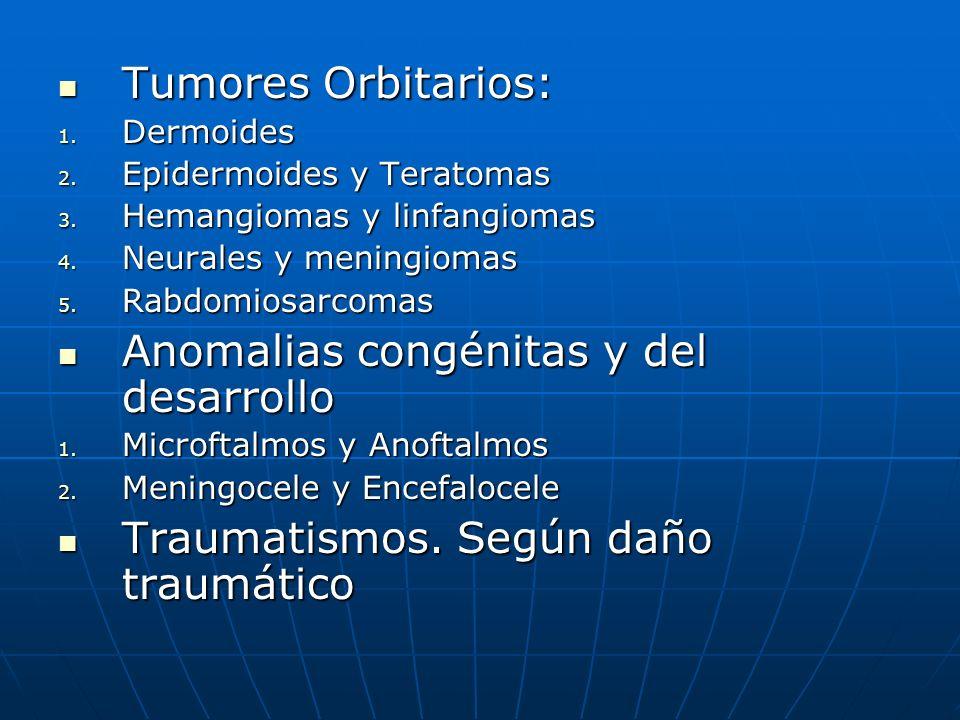 Tumores Orbitarios: Tumores Orbitarios: 1. Dermoides 2. Epidermoides y Teratomas 3. Hemangiomas y linfangiomas 4. Neurales y meningiomas 5. Rabdomiosa