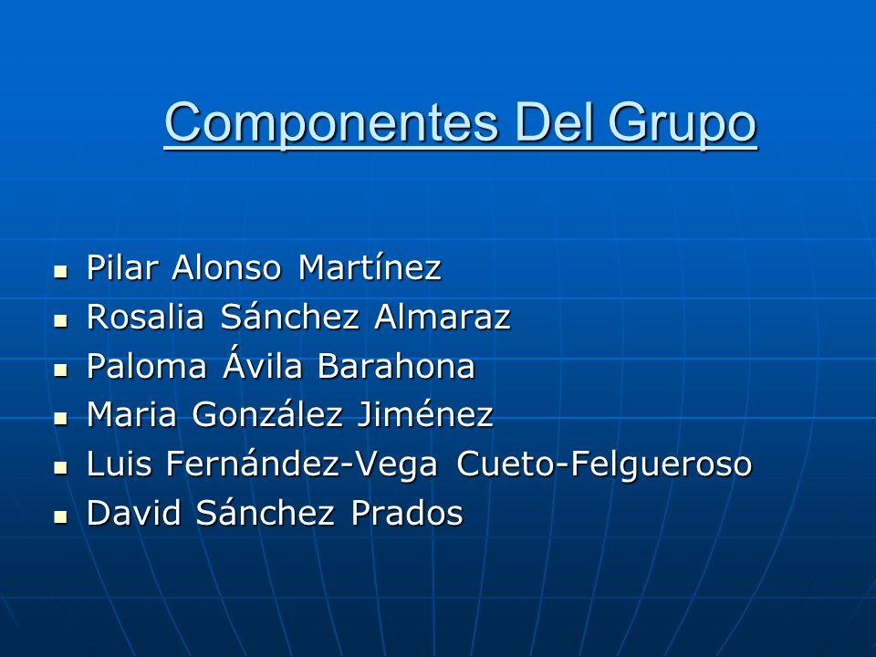 Componentes Del Grupo Pilar Alonso Martínez Pilar Alonso Martínez Rosalia Sánchez Almaraz Rosalia Sánchez Almaraz Paloma Ávila Barahona Paloma Ávila B
