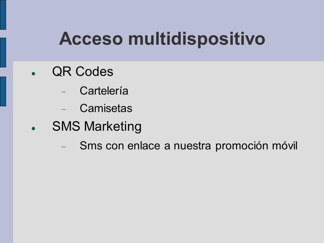 Acceso multidispositivo QR Codes Cartelería Camisetas SMS Marketing Sms con enlace a nuestra promoción móvil