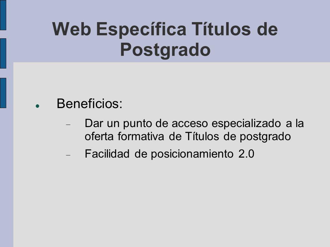 Web Específica Títulos de Postgrado Beneficios: Dar un punto de acceso especializado a la oferta formativa de Títulos de postgrado Facilidad de posicionamiento 2.0