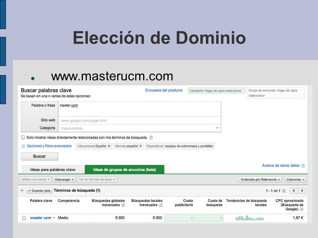 Elección de Dominio www.masterucm.com