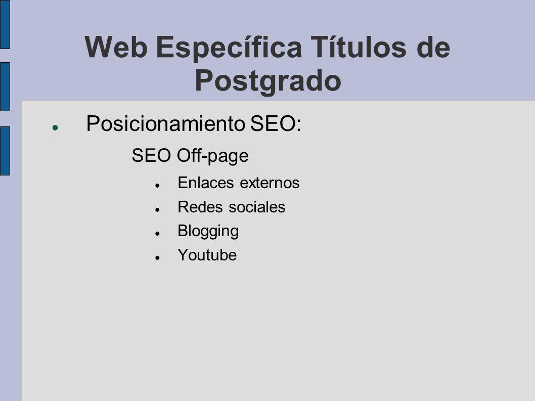 Web Específica Títulos de Postgrado Posicionamiento SEO: SEO Off-page Enlaces externos Redes sociales Blogging Youtube