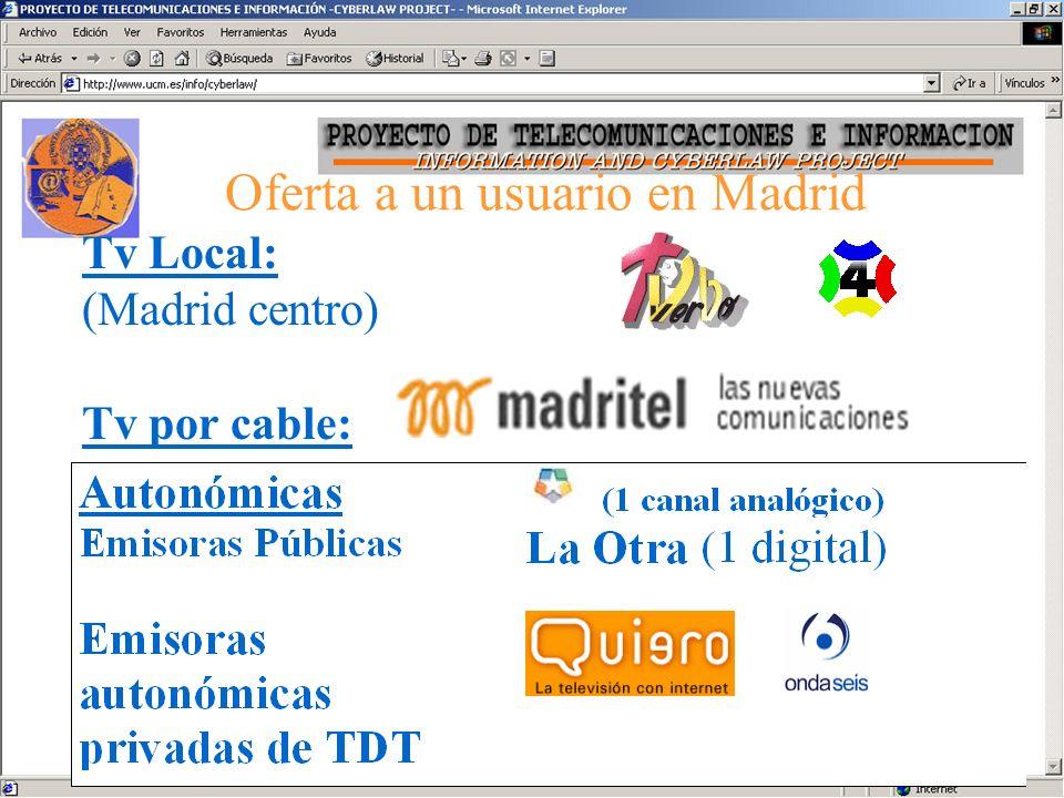 Síntesis de la oferta a un usuario de Madrid Tv por satélite –Canales de Astra e Hispasat –Televisión directa por satélite Tv Nacional: –Analógicas: TVE1, La 2, Tele5, Antena 3, Canal + –Digital terrenal: