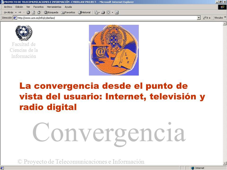Acceso Universal La convergencia desde el punto de vista del usuario: Internet, televisión y radio digital Facultad de Ciencias de la Información © Proyecto de Telecomunicaciones e Información Convergencia