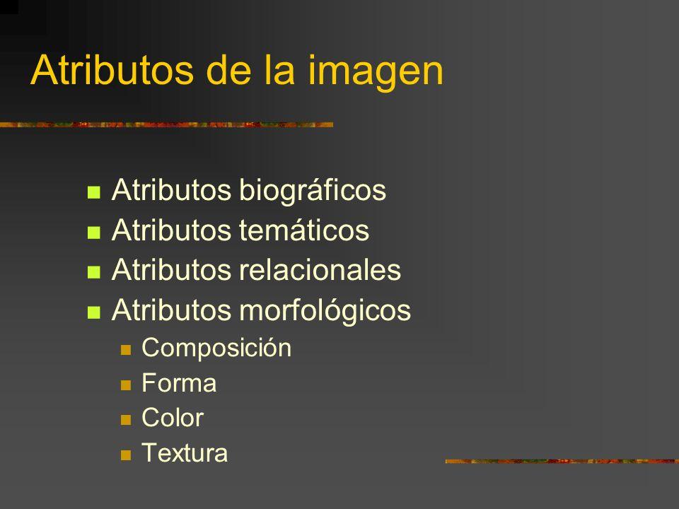 Atributos de la imagen Atributos biográficos Atributos temáticos Atributos relacionales Atributos morfológicos Composición Forma Color Textura