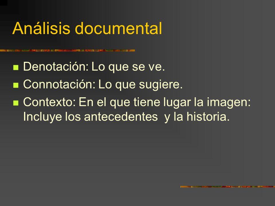 Análisis documental Denotación: Lo que se ve.Connotación: Lo que sugiere.