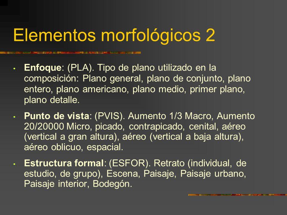 Elementos morfológicos 2 Enfoque: (PLA).