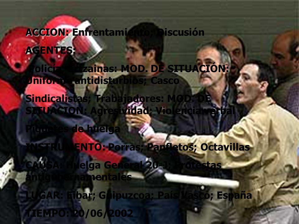 ACCION ACCION: Enfrentamiento; Discusión AGENTES: Policía; Ertzainas: MOD.