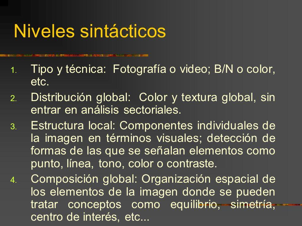 Niveles sintácticos 1. Tipo y técnica: Fotografía o video; B/N o color, etc.