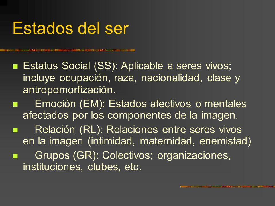 Estados del ser Estatus Social (SS): Aplicable a seres vivos; incluye ocupación, raza, nacionalidad, clase y antropomorfización.