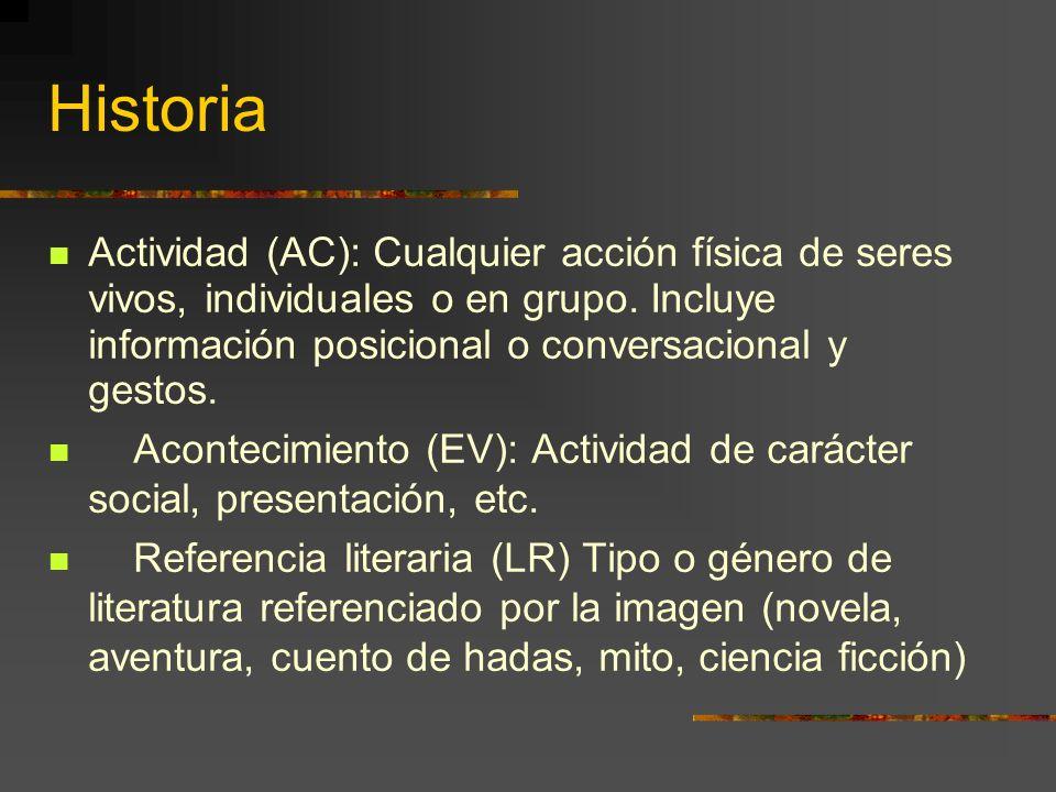 Historia Actividad (AC): Cualquier acción física de seres vivos, individuales o en grupo.