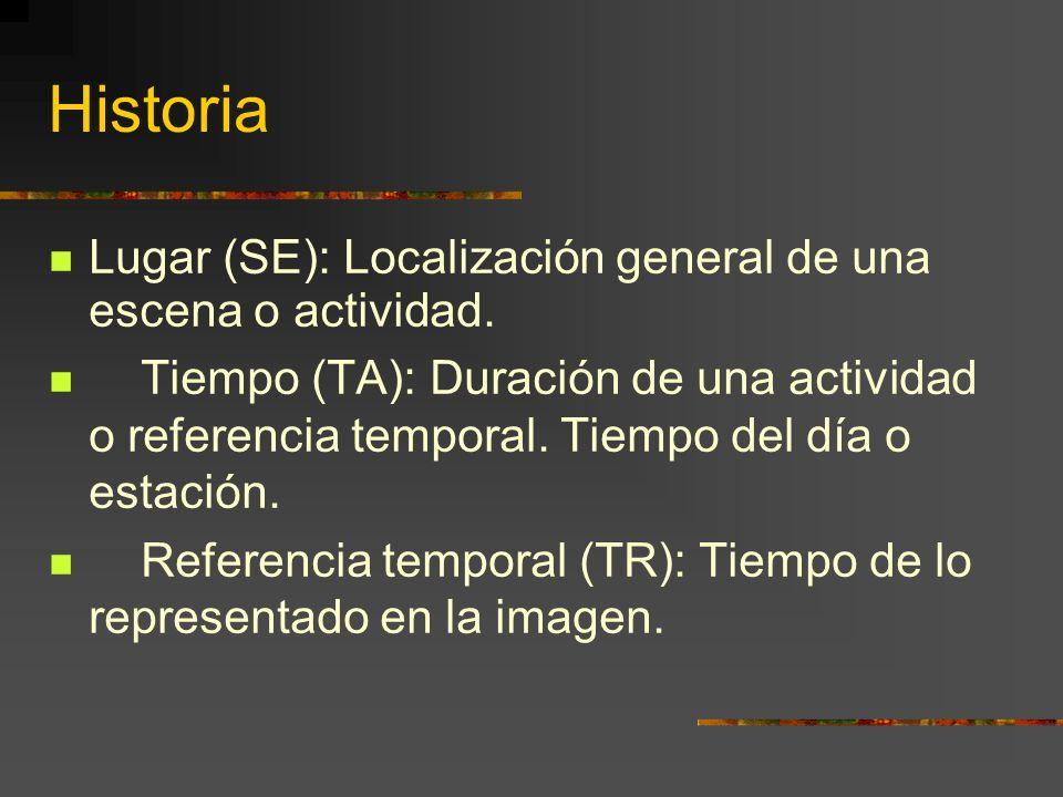 Historia Lugar (SE): Localización general de una escena o actividad.